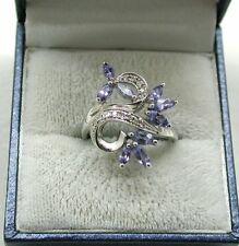 Gorgeous 9ct White Gold Tanzanite And Diamond Large Dress Ring