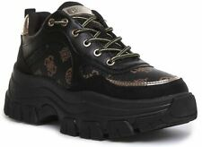 Guess Womens Barty Active Lace up Platform Trainer Black Size UK 3 - 8