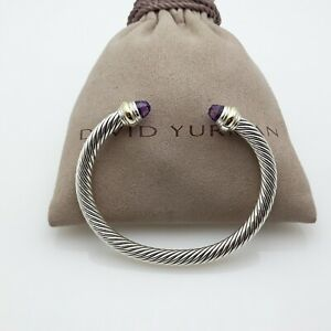 David Yurman 5mm Cable Classic Bracelet with Amethyst and 14k Gold Size Medium
