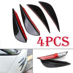 4Pcs Uiniversal Car SUV Front Bumper Fin Canards Splitter Lips Trim Glossy Black