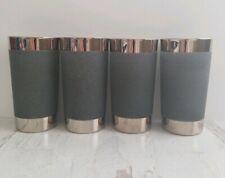 Set of 4 Vintage Silver Rim Highball Collins Juice Glasses Tumblers Grip 12 oz