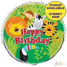 ANIMAL JUNGLE ZOO SAFARI PARTY SUPPLIES 45cm HAPPY BIRTHDAY FOIL HELIUM BALLOON