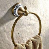 Antique Brass Wall Mounted Bathroom Towel Holder Ring Hardware Pba401