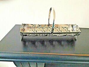 Vintage Yeoman Silver Plate On Copper After Dinner Mints / Biscuit Basket Holder