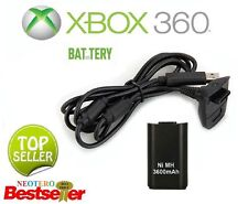 3600mah XBOX 360 BATTERY PACK RICARICABILE + USB Charge Cavo Controller Wireless