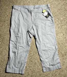 Mountain Hardwear Sandhills Capri Pants Size 14 GRAY Roll Up Lightweight