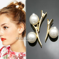 Pack of 3 Flapper Bridal 13mm Pearls Gold Updo Hair Pin Clip Claw Dress Barrette
