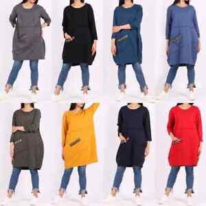 Italian Womens Pleated Baggy Lagenlook Cotton Long Sleeve Top Tunic Dress Plus