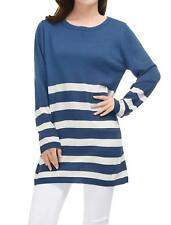 Allegra K Womens Round Neck Stripes Boyfriend Loose Tunic Knit Top