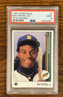 1989 Upper Deck Star Rookie #1 Ken Griffey Jr. Mariners RC HOF PSA 9- Fast ship!