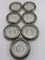 Vintage Midcentury Starburst Glass & Silver Plate Coasters (7) Leonard Italy
