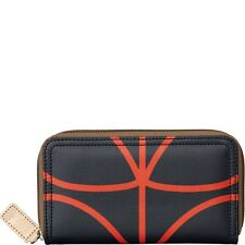 New Etc by Orla Kiely big zip wallet in giant linear stem Navy Black Brown Red