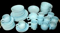 BEAUTIFUL!! FRANKOMA POTTEERY LAZY BONES ROBIN'S EGG BLUE DISHES 40 Pieces MCM
