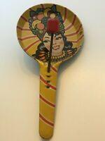 T Conn Noisemaker Tin Toy Vintage Litho Fruit Hat Lady 1940s Mid Century Noise