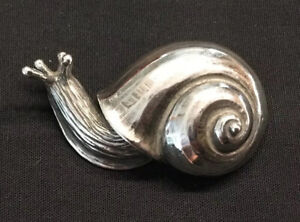 Retired James Avery Snail Pin / Brooch Vintage & Very Rare Sterling Silver 3D