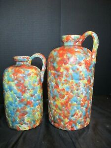 """MULTI COLORED SPATTERWARE BOTTLES JUGS VASES SET OF 2 WITH HANDLE 12"""" & 9 1/2"""""""