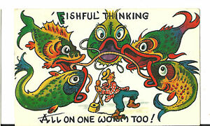 "VINTAGE COMIC  POSTCARD  ""FISHFUL THINKING ALL ON ONE WORM TOO"""