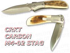 Crkt Kit Carson M4-02 Stag Folder Plain Edge M4-02S New