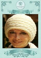 Vintage Knitting pattern-how to make a sideways cable stitch warm snuggly hat