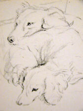Lucy Dawson Snugging DACHSHUNDS on a Chair 1946 Vintage Dog Print Matted