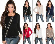 Sexy KouCla Glamour Cardigan mit Strass & Zipp Pulli Sweater Pullover Jacke