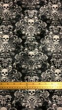 Fat Quarter Wicked Gothic Skulls On Pattern 100% Cotton Quilting Fabric