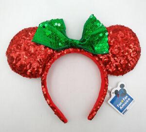 Disney Park Green Bow Sequins Minnie Mouse Ears Mickey Red Christmas Headband
