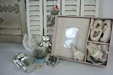 9 tlg. Baby Geschenk Set Blau Bilderrahmen Schuhe Anhänger Kerze Auto Metall