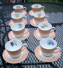 8) GORGEOUS MOTTAHEDEH VISTA ALEGRE PORTUGAL SUMMER FRUIT CUPS & SAUCERS SET N/R