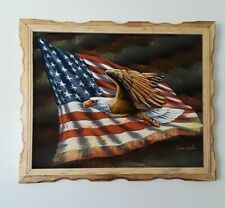 """AMERICAN EAGLE  , Hand Painted , VELVET PAINTING , 18"""" BY 22"""" W , FRAME , DECOR"""