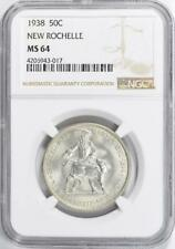 1938 New Rochelle Commemorative Silver Half Dollar NGC MS 64 - Mint State 64