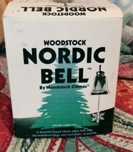 Woodstock Chimes Nordic Bell Evergreen Green Glass Wind chime with Snowflake NEW