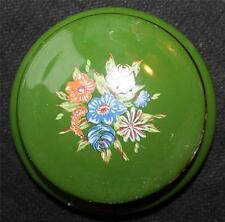 """Vintage T. Limoges JOLIE Ceramics Green Round 4 1/2""""d Trinket Box Made in Italy"""