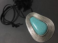Bijoux long suede statement necklace with antique silver and turquoise pendant