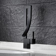 Modern Bathroom Sink Taps Bath Basin Mixer Tap Waterfall Monobloc Black Faucet