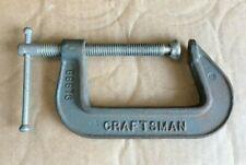 "Vintage Craftsman 3"" C-Clamp 66673 Malleable Iron Steel w/ Swivel Pad USA - NICE"