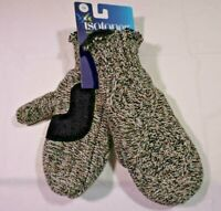 NWT ISOTONER Women's 1Size Black Tweed Cable  Knit Mittens Lined w Palm Patch