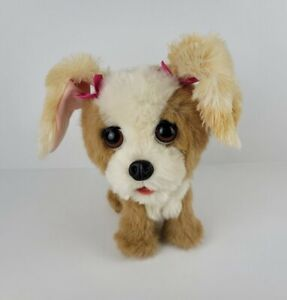 Fur Real Friends Small Tan White Pink Bows Bouncy Happy To See Me Puppy Dog