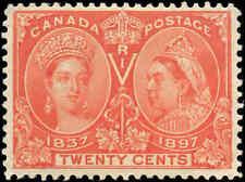 1897 Mint Canada Scott #59 20c Diamond Jubilee Stamp F-VF Hinged