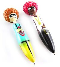Invotis Afro Pair Pens White & Brown - Black & Red Novelty Ballpoint Pens - New