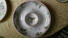Lenox Treasured Traditions Holly Chip and Dip Bowl Serving Piece With Berries