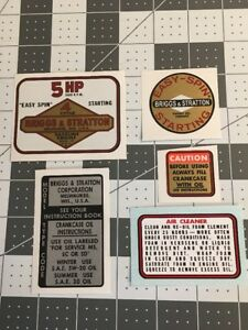 Briggs & Stratton Vintage Mini Bike 1964-77 Tiller 5hp decal set 5
