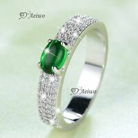 18K WHITE GOLD FILLED MADE WITH SWAROVSKI CRYSTAL FASHION RING GREEN