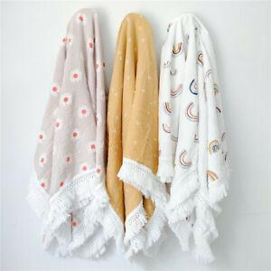 Newborn Swaddle Baby Wrap Cotton Muslin Gauze Bath Towel Tassel Blankets Bedding