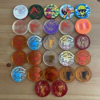 Lot of 27 Vintage POGS Poison, American Games Cap Plastic Slammers Decapitator