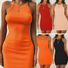 Women Summer Ribbed Bodycon Mini Dresses Ladies Strappy Clubwear Party Dress UK
