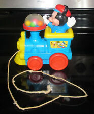 Vintage Plastic Disney Mickey Mouse on Train Pull Toy Balls Pop Up when pulled