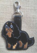 Cavalier King Charles Spaniel Black and Tan , Key Fob, Embroidered, Key Chain