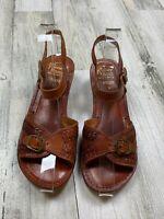 VTG Kinney Shoes Brown Leather Brazil Slingback Buckle Sandal Womens Size 5 Wood