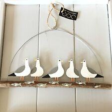 Shoeless Joe Gossiping Seagulls on Driftwood Hanging Nautical Seaside Home Decor